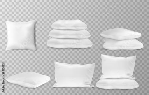 Obraz Realistic white pillows side en top view combinations mockup set transparent background vector illustration - fototapety do salonu