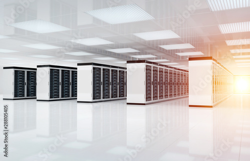 White servers data center room with bright halo light through the corridor 3D rendering
