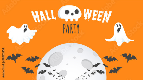 Poster Halloween Happy Halloween text postcard banner with ghosts scary face, human scull and text happy halloween isolated on orange background flat style design.