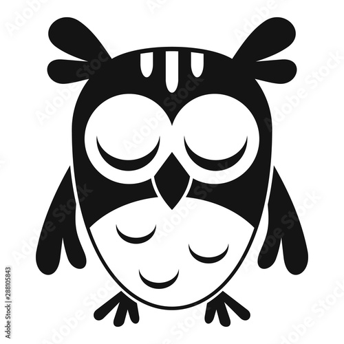 Garden Poster Owls cartoon Sleeping owl icon. Simple illustration of sleeping owl vector icon for web design isolated on white background