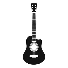 Acoustic Guitar Icon. Simple Illustration Of Acoustic Guitar Vector Icon For Web Design Isolated On White Background
