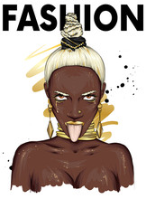 Beautiful Black Woman With Stylish Haircut, Jewelry. Fashionable Girl Shows Tongue. Honey. Vector Illustration For A Card Or Poster, Print On Clothes. Fashion And Style, Accessories