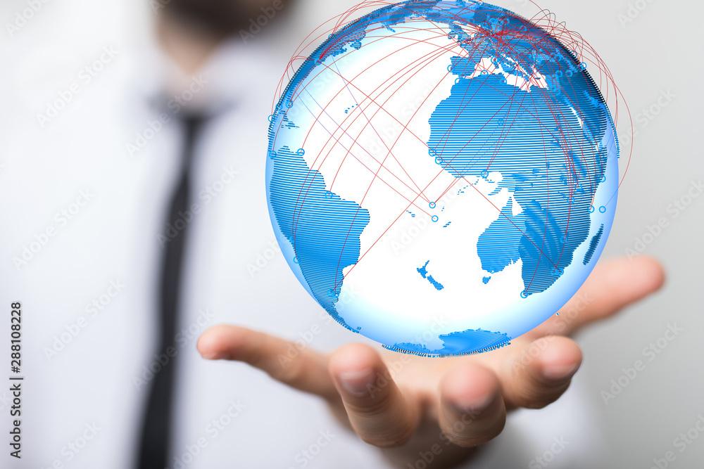 Fototapeta global network and data exchanges