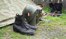 German Army Helmet And Boots World War II Period, Outdoors