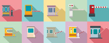 Toll Road Icons Set. Flat Set Of Toll Road Vector Icons For Web Design