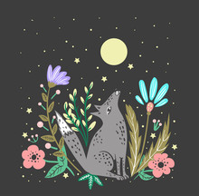 Wolf Howls To The Moon Cute Illustration