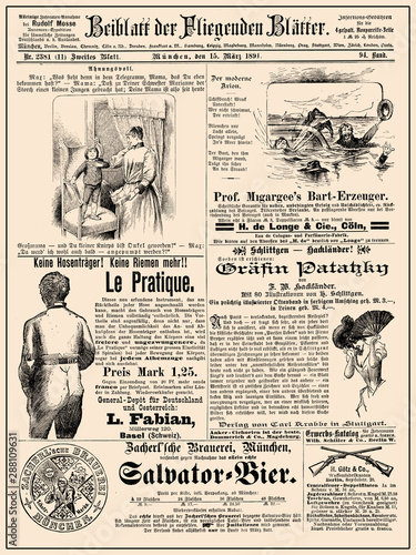 Commercial magazine advertising page in German with many promotion banners,vigne Tableau sur Toile