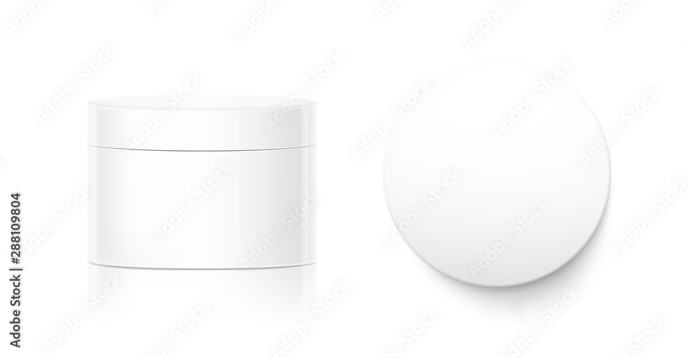 Fototapety, obrazy: Blank cosmetic package container for creme. Vector illustration isolated on white background. Can be use for your design, advertising, promo and etc. EPS10.