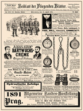Commercial Magazine Advertising Page In German With Many Promotion Banners,vignettes And Caricatures; Dated 1891