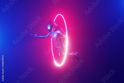 Fototapeta Cosmonaut flying through a luminous neon ring, portal