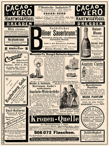 Spoed Fotobehang Kranten Commercial magazine advertising page in German with many promotion banners,vignettes and caricatures; dated 1891