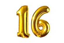Happy 16 Years Old Party With Golden Shiny Inflatable Balloons Isolated On White