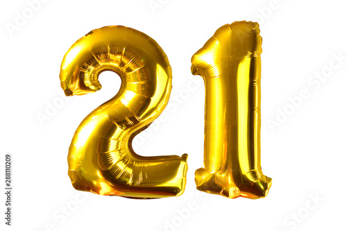 Tela Happy 21 years old party with golden shiny inflatable balloons isolated on white