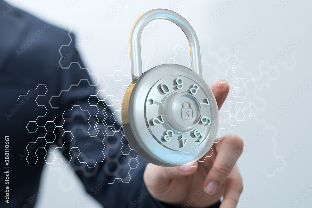 Fototapeta security data code digital in hand