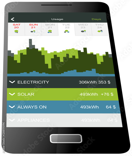 Fototapeta Smartphone application for analyzing electricity consumption - photovoltaic installation - electricity consumption obraz