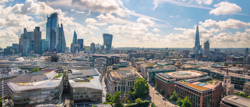 Fototapety, obrazy: City of London view at sunny summer day. View includes skyscrapers of the financial area. London, UK