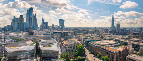 City of London view at sunny summer day. View includes skyscrapers of the financial area. London, UK