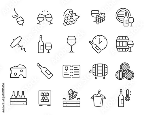 Slika na platnu set of wine icons, wine bottle, grape, cork, alcohol, cheese