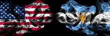 United States Of America, USA Vs Argentina, Argentinian Background Abstract Concept Peace Smokes Flags.