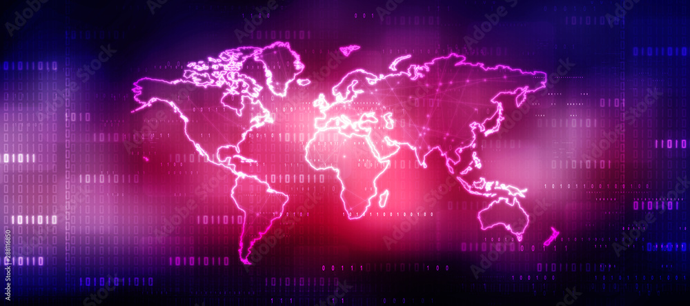 Fototapety, obrazy: 2d illustration world map abstract background