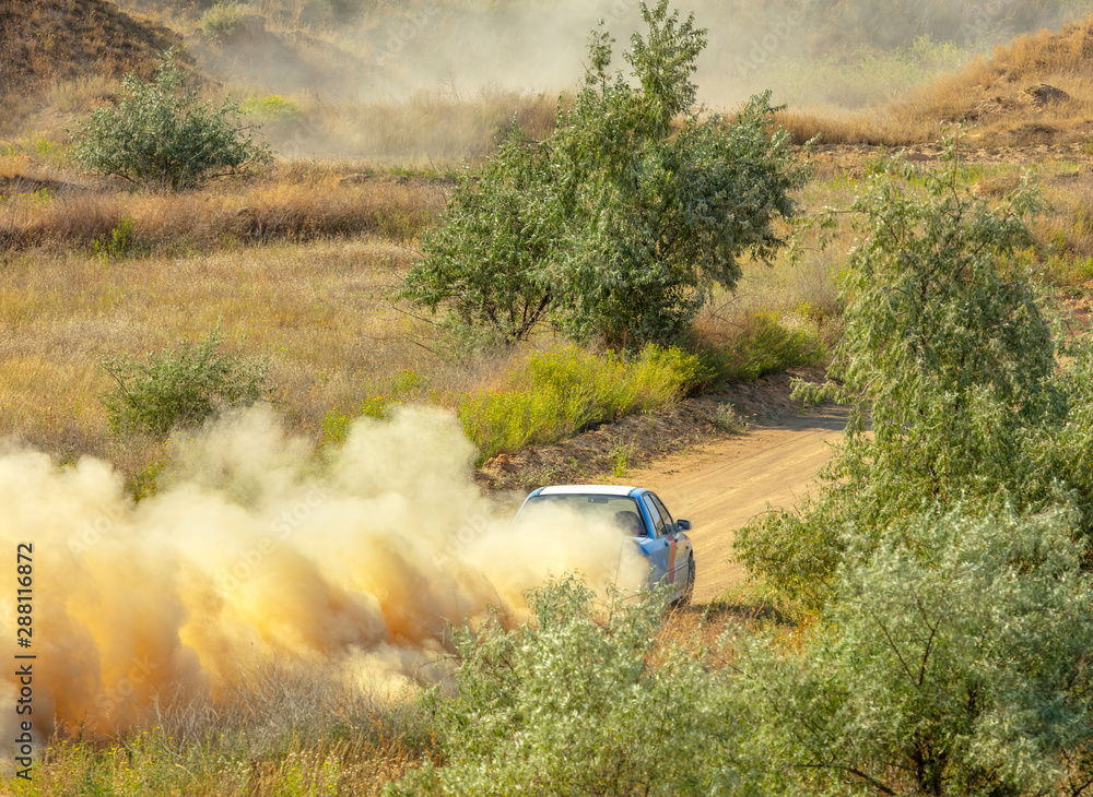 Fototapeta Sports Car on a Bend and a lot of Dust 05