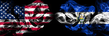 United States Of America, USA Vs El Salvador, Salvadorian Background Abstract Concept Peace Smokes Flags.