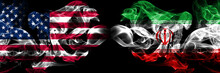 United States Of America, USA Vs Iran, Iranian Background Abstract Concept Peace Smokes Flags.