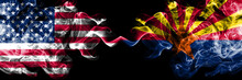 United States Of America, USA Vs Arizona State Background Abstract Concept Peace Smokes Flags.