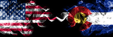 United States Of America, USA Vs Colorado State Background Abstract Concept Peace Smokes Flags.