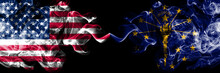 United States Of America, USA Vs Indiana State Background Abstract Concept Peace Smokes Flags.