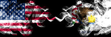United States Of America, USA Vs Illinois State Background Abstract Concept Peace Smokes Flags.