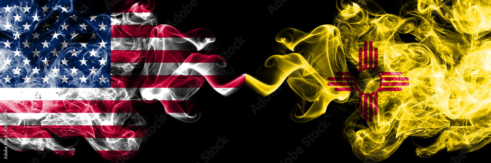 Fototapety, obrazy: United States of America, USA vs New Mexico state background abstract concept peace smokes flags.