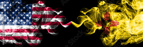 Fotografia  United States of America, USA vs New Mexico state background abstract concept peace smokes flags