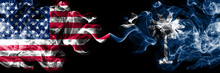 United States Of America, USA Vs South Carolina State Background Abstract Concept Peace Smokes Flags.