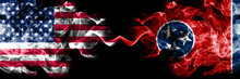 United States Of America, USA Vs Tennessee State Background Abstract Concept Peace Smokes Flags.