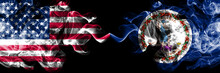 United States Of America, USA Vs Virginia State Background Abstract Concept Peace Smokes Flags.