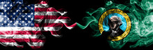 United States Of America, USA Vs Washington State Background Abstract Concept Peace Smokes Flags.