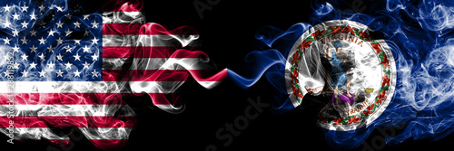 Obraz na plátně United States of America, USA vs Virginia state background abstract concept peace smokes flags