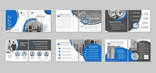 Brochure Creative Design. Multipurpose Template With Cover, Back And Inside Pages. Trendy Minimalist Flat Geometric Design. Square Format.