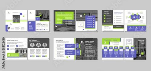 Fototapeta Brochure creative design. Multipurpose template with cover, back and inside pages. Trendy minimalist flat geometric design. Square format. obraz na płótnie