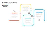 Timeline Infographic Thin Line Design With Icons. Template For Graph, Diagram, Presentations. Business Concept With 4 Options. Vector Illustration.