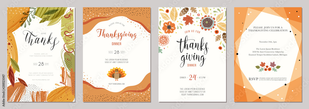 Fototapety, obrazy: Thanksgiving greeting cards and invitations.