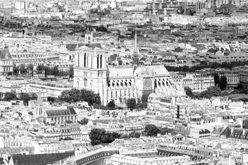 Fototapeta Paryż Paris view with Notre Dame. Black and white retro style.
