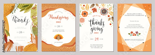 Thanksgiving greeting cards and invitations.  - 288123047