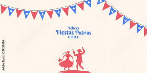 Photo 18 de septiembre, Felices Fiestas Patrias, English translation : (Chile national holiday, 18 September)  National Holidays Celebration Card