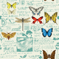 FototapetaVector seamless abstract pattern with butterflies. Colorful butterflies, ink spots, sketches and notes on the old manuscript background. Suitable for wallpaper, wrapping paper, textile, fabric