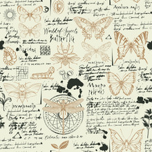 Vector Seamless Abstract Pattern With Insects. Various Butterflies, Beetles, Ink Spots, Sketches And Notes On The Old Manuscript Background. Suitable For Wallpaper, Wrapping Paper, Textile, Fabric