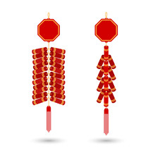Red Chinese Firecracker Flat Icon. Vector. Red Fire Cracker Art Design For Chinese New Year Celebration.