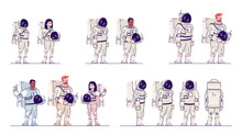 Cosmonauts In Space Suits Flat Vector Illustrations Set. Multiracial Male And Female Astronauts Standing And Holding Helmets Isolated Cartoon Characters. Crew Members Of Spacecraft. Aerospace Industry