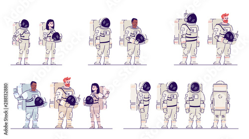 Photo Cosmonauts in space suits flat vector illustrations set